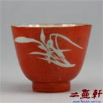 晚清珊瑚紅釉下彩留白蘭花杯
