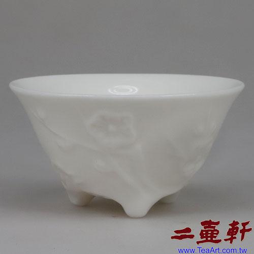 中國福建德化白梅杯三腳,古董杯,老茶杯,中國白杯