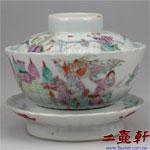 清同治年代粉彩三國人物菊瓣三件式蓋碗,蓋杯,古董蓋碗