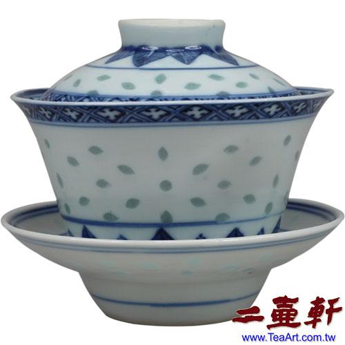 60年代景德鎮出口日本手繪青花玲瓏三件式蓋碗,蓋杯