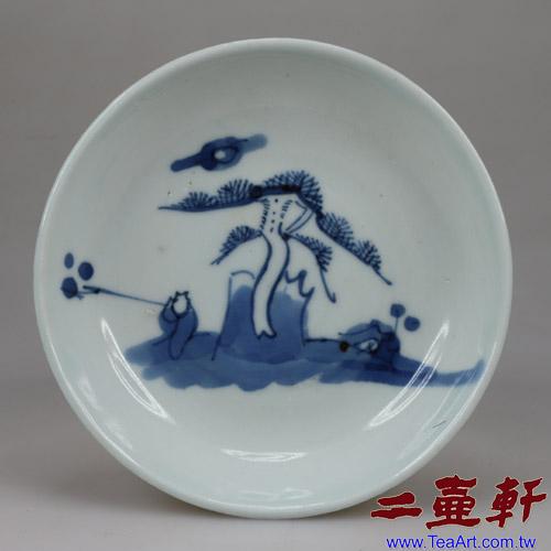 晚清青花人物工夫茶盤,古董茶盤,壺承,茶船
