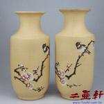 內紫緞泥花瓶,,中國宜興一廠紫砂花瓶花器